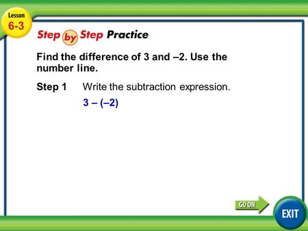 Lesson 6-3 Example 4 6-3 Find the difference of 3 and –2. Use the number line. Step 1Write the subtraction expression. 3 – (–2)