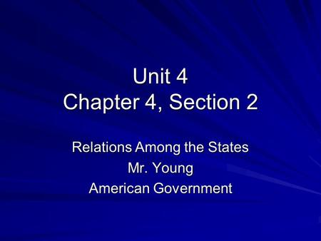 Relations Among the States Mr. Young American Government