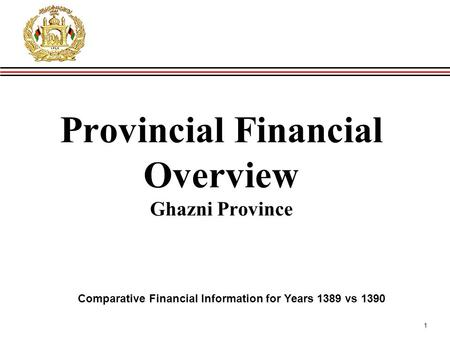 1 Provincial Financial Overview Ghazni Province Comparative Financial Information for Years 1389 vs 1390.