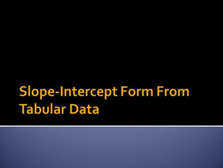  When given a table of data related to a straight line, writing the equation of the line in slope-intercept form is very straight forward.