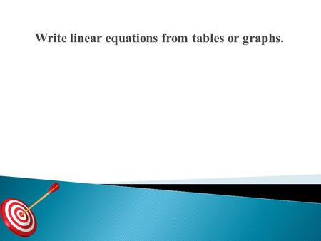 Write linear equations from tables or graphs.