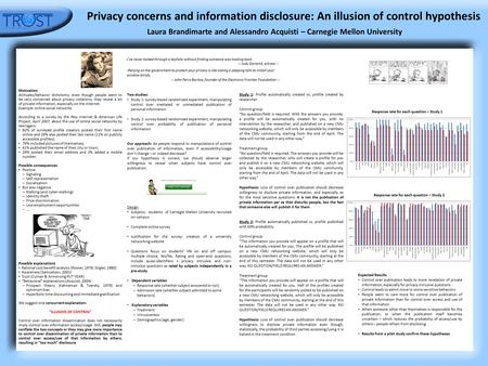 Privacy concerns and information disclosure: An illusion of control hypothesis Laura Brandimarte and Alessandro Acquisti – Carnegie Mellon University Motivation.