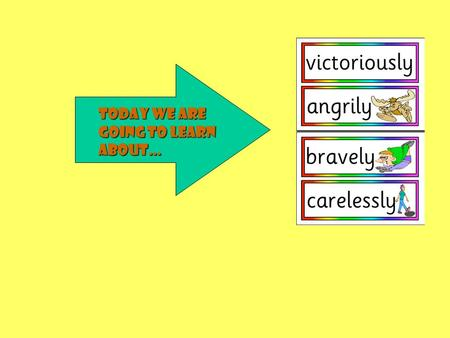 Today we are going to learn about… What is an adverb?