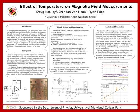 Effect of Temperature on Magnetic Field Measurements Doug Hockey 1, Brendan Van Hook 1, Ryan Price 2 Sponsored by the Department of Physics, University.