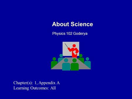 About Science Physics 102 Goderya Chapter(s): 1, Appendix A Learning Outcomes: All.