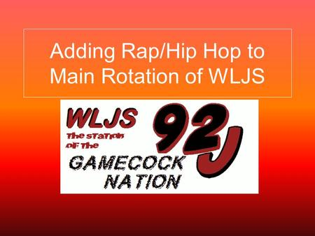 Adding Rap/Hip Hop to Main Rotation of WLJS. Background  WLJS is the student run campus radio station.  WLJS was first charted on September, 29 1975.