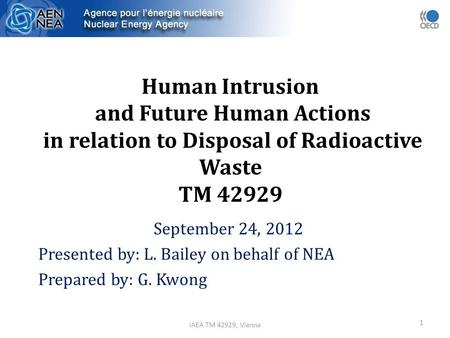Human Intrusion and Future Human Actions in relation to Disposal of Radioactive Waste TM 42929 September 24, 2012 Presented by: L. Bailey on behalf of.