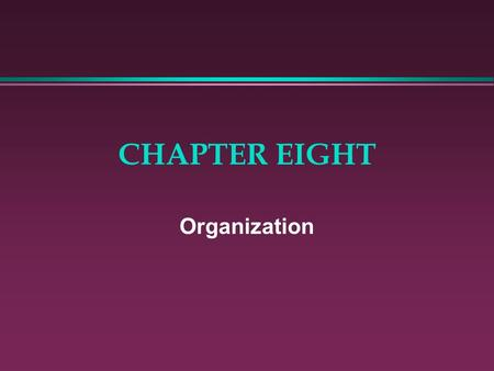 CHAPTER EIGHT Organization. ORGANIZATION IS IMPORTANT! l Organizational structure has a direct bearing on the success of sales strategies.