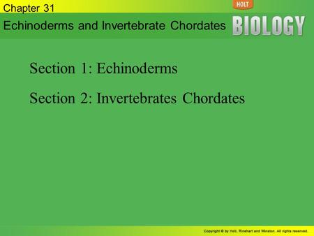 Section 2: Invertebrates Chordates