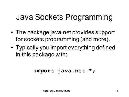 Java Sockets Programming