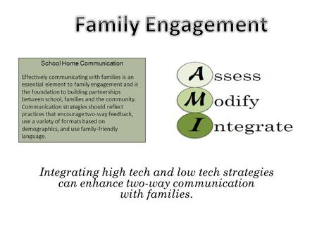 School Home Communication Effectively communicating with families is an essential element to family engagement and is the foundation to building partnerships.