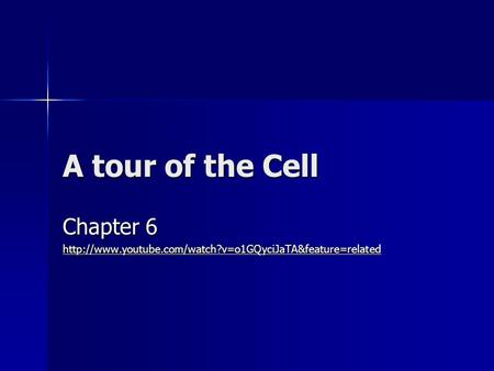 Chapter 6 http://www.youtube.com/watch?v=o1GQyciJaTA&feature=related A tour of the Cell Chapter 6 http://www.youtube.com/watch?v=o1GQyciJaTA&feature=related.