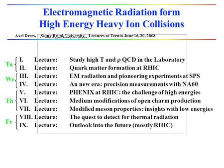 Axel Drees, Stony Brook University, Lectures at Trento June 16-20, 2008 Electromagnetic Radiation form High Energy Heavy Ion Collisions I.Lecture:Study.