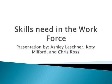 Presentation by: Ashley Leschner, Koty Milford, and Chris Ross.