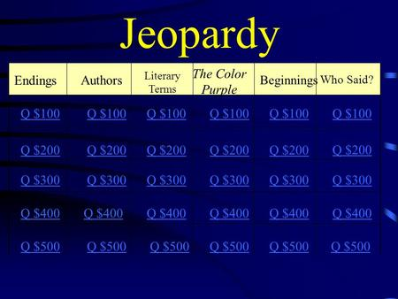 Jeopardy Endings Authors The Color Purple Beginnings Q $100 Q $200 Q $300 Q $400 Q $500 Q $100 Q $200 Q $300 Q $400 Q $500 Who Said? Q $100 Q $200 Q $300.