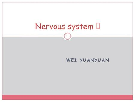 WEI YUANYUAN Nervous system Ⅵ. Intellectual function of the brain Learning.