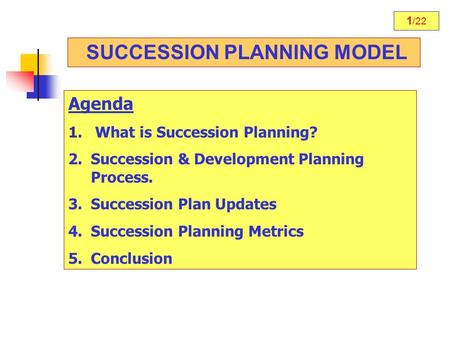 1 /22 SUCCESSION PLANNING MODEL Agenda 1. What is Succession Planning? 2.Succession & Development Planning Process. 3.Succession Plan Updates 4.Succession.