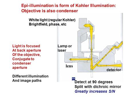 Epi-illumination is form of Kohler Illumination: Objective is also condenser Lamp or laser detector Detect at 90 degrees Split with dichroic mirror Greatly.