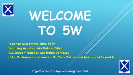 WELCOME TO 5W Teacher: Miss Emma-Jane Kelly Teaching Assistant: Mrs Katrina Dilieto KS2 Support Teacher: Mrs Helen Dempsey LSAs: Ms Samantha Valencia,