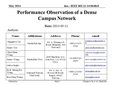 Doc.: IEEE 802.11-14/0648r0 Submission May 2014 Chinghwa Yu et. al., MediaTekSlide 1 Performance Observation of a Dense Campus Network Date: 2014-05-11.
