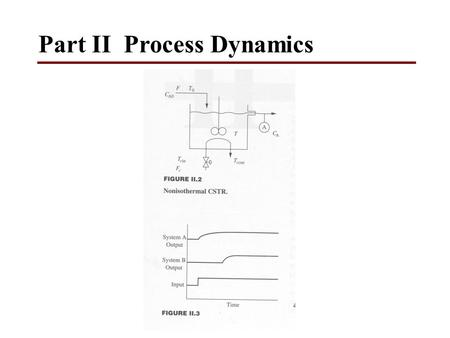 Part II Process Dynamics.  Process model types 1.Mathematical model 2.Fundamental and empirical model 3.Steady-state and dynamic model 4.Lumped (ODE)