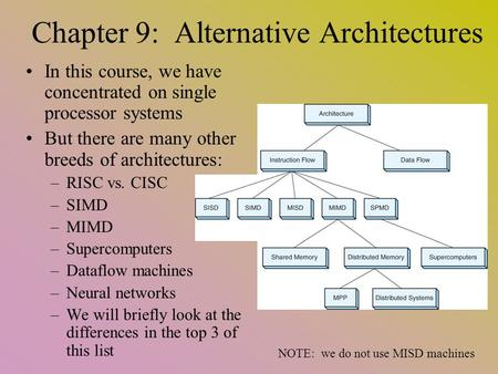 Chapter 9: Alternative Architectures In this course, we have concentrated on single processor systems But there are many other breeds of architectures: