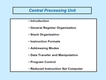 Central Processing Unit. MAJOR COMPONENTS OF CPU.