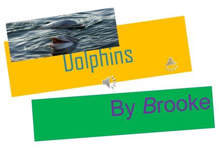 Dolphins By Brooke DESCRIPTION Dolphins are whales. Dolphins are toothed. They are mammals. Scientists can tell the age by counting the rings on the.
