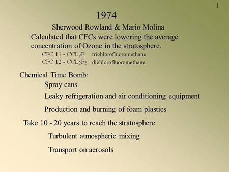 1974 Sherwood Rowland & Mario Molina Calculated that CFCs were lowering the average concentration of Ozone in the stratosphere. Chemical Time Bomb: Spray.