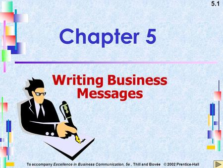 5.1 To accompany Excellence in Business Communication, 5e, Thill and Bovée © 2002 Prentice-Hall Chapter 5 Writing Business Messages.