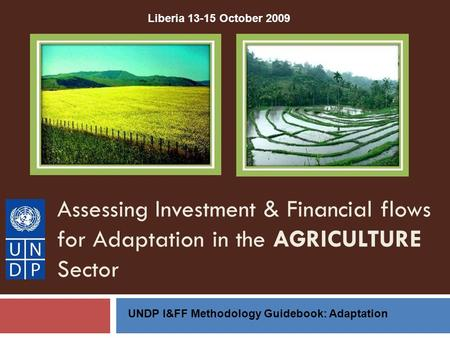 Assessing Investment & Financial flows for Adaptation in the AGRICULTURE Sector UNDP I&FF Methodology Guidebook: Adaptation Liberia 13-15 October 2009.
