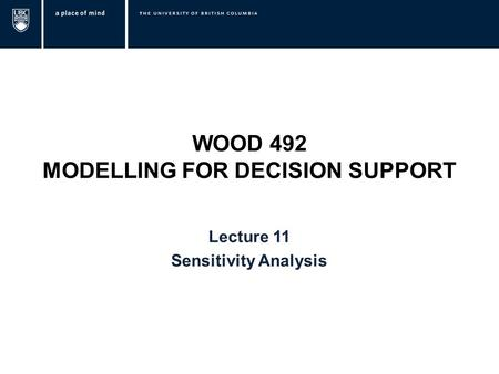 WOOD 492 MODELLING FOR DECISION SUPPORT Lecture 11 Sensitivity Analysis.