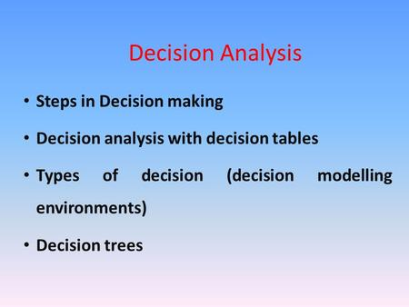 Decision Analysis Steps in Decision making