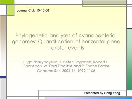 Phylogenetic analyses of cyanobacterial genomes: Quantification of horizontal gene transfer events Olga Zhaxybayeva, J. Peter Gogarten, Robert L. Charlebois,