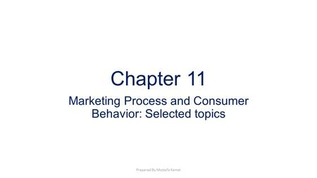 Chapter 11 Marketing Process and Consumer Behavior: Selected topics Prepared By Mostafa Kamel.