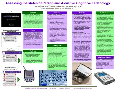Assessing the Match of Person and Assistive Cognitive Technology Measure Conclusions Acknowledgments Gratitude is extended to participants, interviewers.