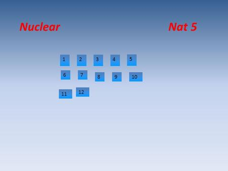 Nuclear Nat 5 1234 5 67 8910 12 11. Why is radiation emitted from atoms? Because there nucleus is unstable. Due to the proton to neutron ratio.