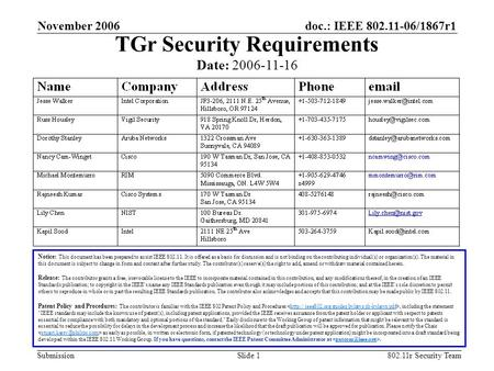 Doc.: IEEE 802.11-06/1867r1 Submission November 2006 802.11r Security TeamSlide 1 TGr Security Requirements Notice: This document has been prepared to.