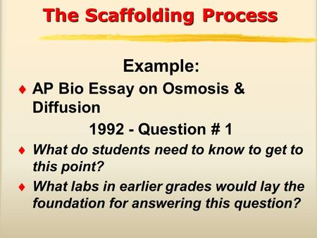 ap bio diffusion osmosis essay Ap biology syllabus judith s de nuño  diffusion-osmosis classic active transport simulation  essays by topic lab questions.