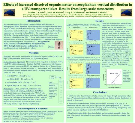 Effects of increased dissolved organic matter on zooplankton vertical distribution in a UV-transparent lake: Results from large-scale mesocosms Sandra.