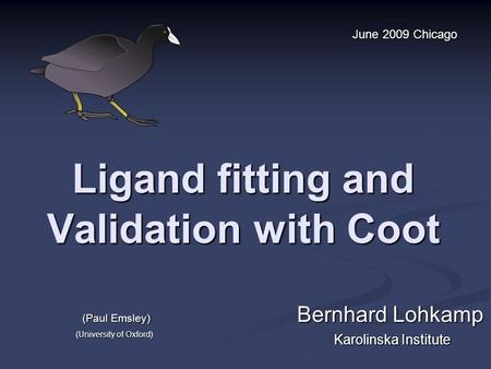 Ligand fitting and Validation with Coot Bernhard Lohkamp Karolinska Institute June 2009 Chicago (Paul Emsley) (University of Oxford)
