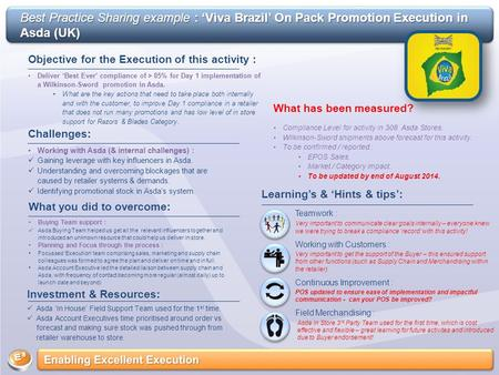 Best Practice Sharing example : 'Viva Brazil' On Pack Promotion Execution in Asda (UK) Objective for the Execution of this activity : Deliver 'Best Ever'