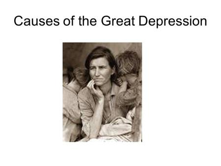 Causes of the Great Depression. Signs of economic trouble Uneven wealth – 1% of population controlled 34% of the wealth. Living on credit – Installment.