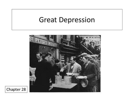 Great Depression Chapter 28. FYI's Need Ch 27 reading quizzes asap! (tomorrow?) I have a new calendar, left it on my home computer (oops) Things to note.