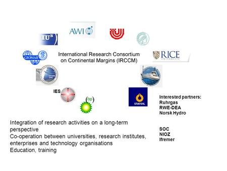 IES Integration of research activities on a long-term perspective Co-operation between universities, research institutes, enterprises and technology organisations.