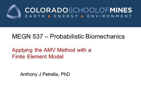 MEGN 537 – Probabilistic Biomechanics Applying the AMV Method with a Finite Element Model Anthony J Petrella, PhD.