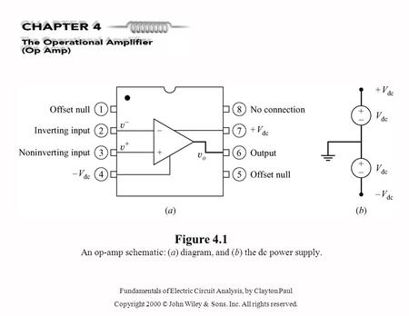 Fundamentals of Electric Circuit Analysis, by Clayton Paul Copyright 2000 © John Wiley & Sons. Inc. All rights reserved. Figure 4.1 An op-amp schematic: