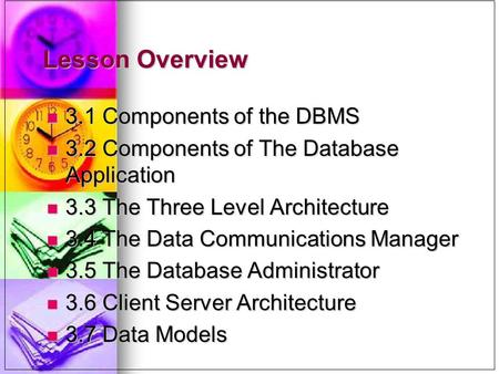 Lesson Overview 3.1 Components of the DBMS 3.1 Components of the DBMS 3.2 Components of The Database Application 3.2 Components of The Database Application.