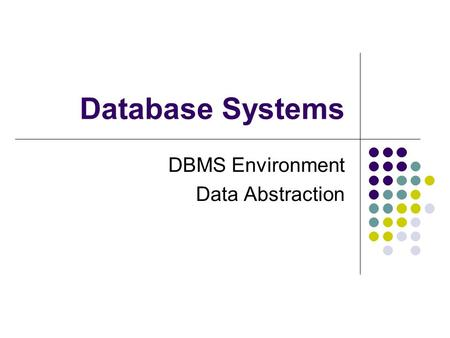 Database Systems DBMS Environment Data Abstraction.
