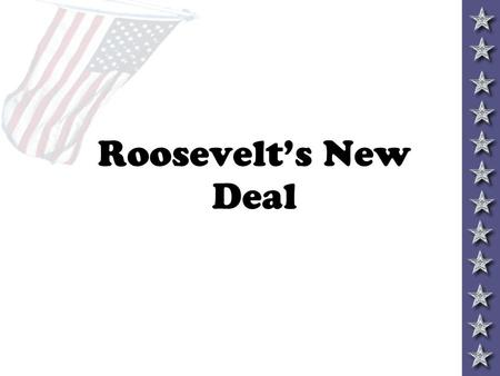 Roosevelt's New Deal Social Security set up to help the elderly, disabled, children, and unemployed 1. created a pension for retired workers (65+) 2.